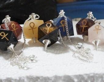 Natural Stone Hexagonal Ankh Pendulums