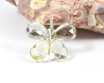 Prasiolite Lemon Quartz Butterfly pendant, Green Amethyst wire wrapped pendant, 23.5mmx25mm, Sterling silver