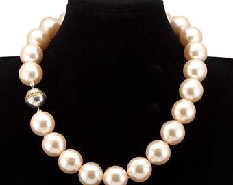 Champagne Mother Pearl Necklace with Silver Ball Lock, Ladies Necklaces, Pearl Necklace