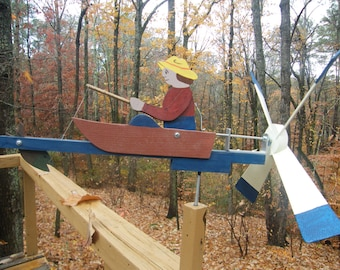 "fishing whirligig cedar, PT pine; painted, ready to mount - includes 18"" mounting post"