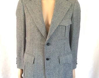 1970s Herringbone Wool Tweed Blazer Navy & Ivory Sz 38-40