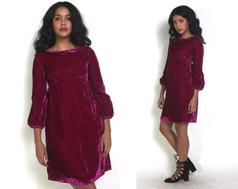 Vintage 60s Emma Domb Long Sleeve Mini Dress Magenta Pink Velvet
