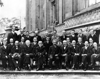 1927 Solvay Conference on Quantum Mechanics Physics Albert Einstein Marie Curie