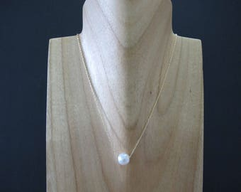 Floating Freshwater White Pearl Gold Necklace