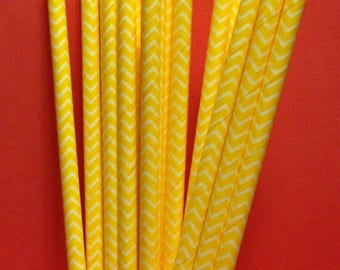 CLEARANCE! Paper Straws 25 Yellow Chevron