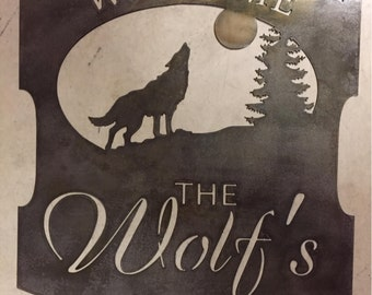 Personalized, metal SIGN with WOLF howling at the MOON