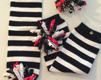 Black and White Stripe Leg Warmers with matching KorkerBow