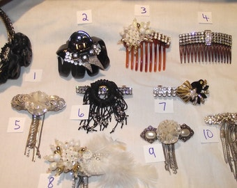PICK ONE !!  Rhinestone / Pearl Hair Clips Barrette Fascinator, made from vintage jewelry. Unique.  Bridal, Every Day, Bling, ++. #196