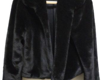 Vintage Black Fur Opera Jacket
