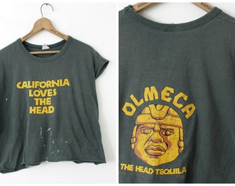 LARGE Vintage 1980s California Loves The Head OLMECA The Head Tequila Distressed Crop Top