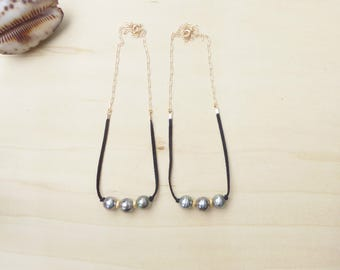 Triple Tahitian Pearl Suede Chain Necklace