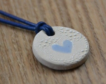 Little Blue Heart Ceramic Medaillon on a Leather Necklace