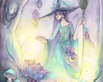 Night Blooming Crystals/Fantasy Art PRINT