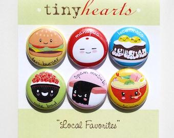 "Hawaii Local Favorites Set - 1"" Cute Kawaii Food Magnets"