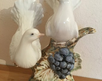 Spanish porcelain White DOVE BIRD On grape branch Collectible Figurine, Signed PS made in Spain
