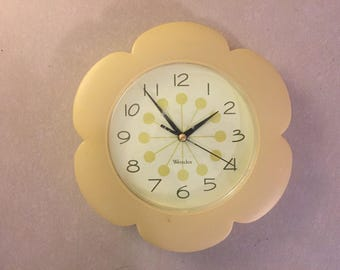 1960s Vintage Flower Power Clock