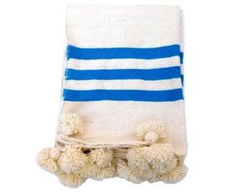 Moroccan Teal Stripe Pom Pom Blanket