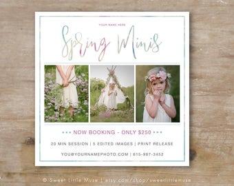 Spring Mini Session Template - mini session template - photography marketing template - 5x5 Spring Minis