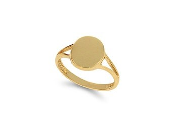 14k solid gold oval signet ring. women's signet ring. engravable ring.