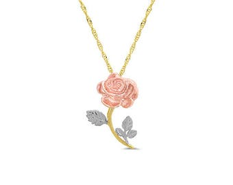"14k solid gold tri color rose pendant on an 18"" solid gold chain. floral jewelry, flower pendant"