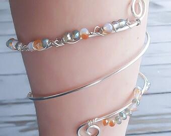 Upper Arm Bracelet - Silver Arm Cuff - Crystal Armcuff - Adjustable Armcuff - Beach Jewelry - Wedding Jewelry - Armlet - Upper Arm Cuff