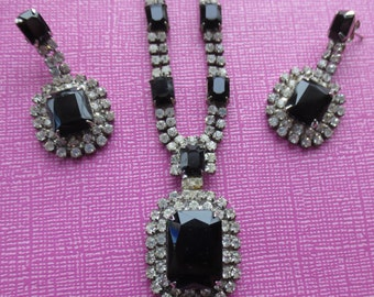 Vintage black crystal Czech necklace and earrings set