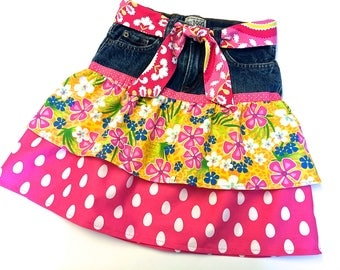 Girls Denim Skirt, Upcycled Blue Jeans Skirt,  Pink and Yellow, Size 7 Only by 8th Day Studio