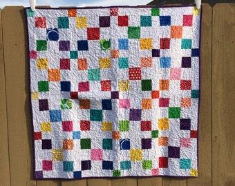 Purple Rainbow Baby Quilt- crib quilt- tummy time- baby quilt- irish chain quilt