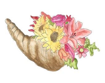 Thanksgiving Clipart // Fall Cornucopia Harvest Clip Art // Watercolor Planner Clipart