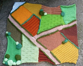 Hand Knitted Farm Play Rug