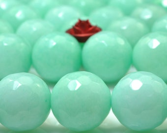 37 pcs of Natural Green Jade faceted round Dyed beads in 10mm