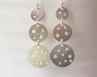 Hammered Earrings, Sterling Silver Earrings, Spike Earrings, Shiny Silver Earrings, Drop Earrings,  Earrings with Bars