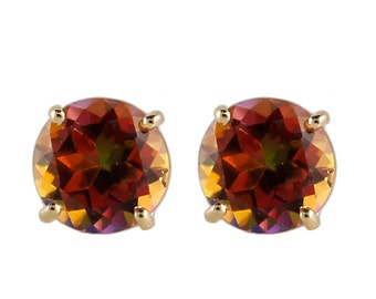 14K Yellow Gold Sunset Topaz 6mm Round 1ctw Stud Earrings