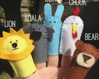 Set of 5 felt handmade finger puppets