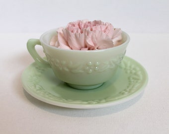 Vintage 40s mint green glass floral cup and saucer