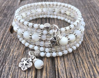RESERVED FOR LYNN Beachy Belle Mother of Pearl and Agate Gemstone Multi Coil Memory Wire Bracelet