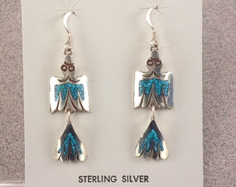 New! Navajo Jewelry Turquoise Sterling Silver Peyote Bird Drop Earrings by Stanley Bain Native American