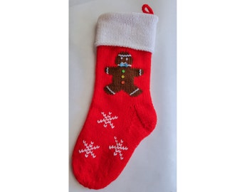 Hand-knitted Personalized Christmas Stockings: Gingerbread Man