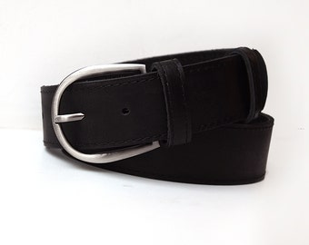 Black leather belt. Leather belt for women. ALL SIZES