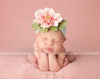 Flower Headband, Pink Flower Headband, Pink Headband, Jersey Headband, Photo Props, Newborn Headband, Baby Headband, Photography Props