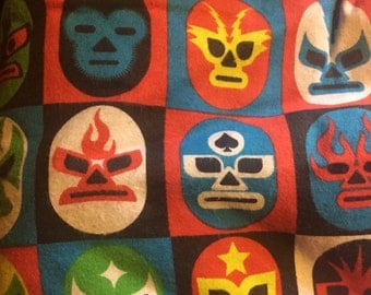 Mexican wrestling flannel fabric - rare and out of print! 1/2 yard