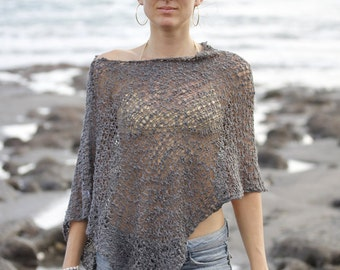 Ladies all-season poncho cape boho woven bikini shoulder cover