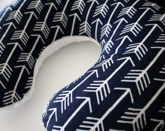 Navy and White Arrow Minky Boppy Pillow Cover, Zipper Closure, Baby Boy or Girl, Baby Shower, Feeding, Nursing, Aztec, Tee Pee