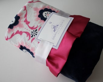Minky Flourish Cuddle Hot Pink, Fuchsia , Navy,  White with Navy Spa Cuddle Back, Baby Blanket, Crib Bedding, Nursery, Baby Shower
