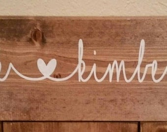 Wedding sign with first names and established sign