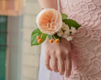 Silk Flower Wedding Corsage* Peach and Gold Rose Corsage* Mother of bride* mother of groom* Prom corsage* wedding accessories*bridal flowers