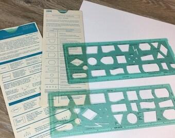 ON SALE Vintage IBM Flowchart Drafting Templates, Original Sleeves, Set of Two, Retro Drawing Tools, Office Supply, Ibm Computer