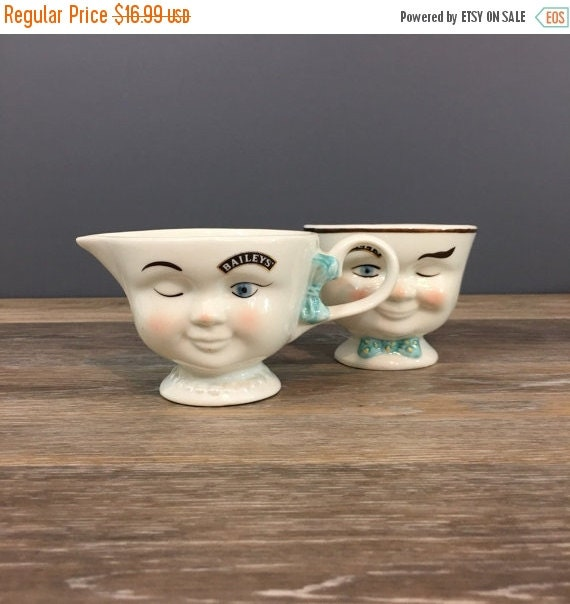 """ON SALE Vintage Bailey's """"Yum"""" Cups, Creamer and Sugar, 1990s Special Edition Bailey's Irish Cream Advertising, Winking Eye"""