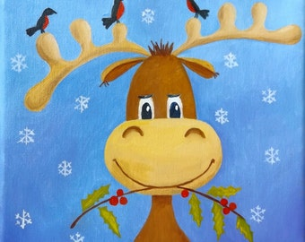 Miniature, moose, Original oil painting on canvas, Size 20 х 20 cm / 8'' x 8'', Christmas