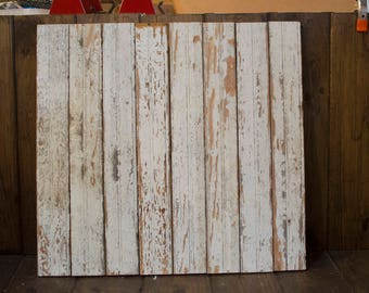 Antique reclaimed Barn Wood Photography Backdrop, Real Wood Salvaged photo backdrop, white chippy paint, food photography
